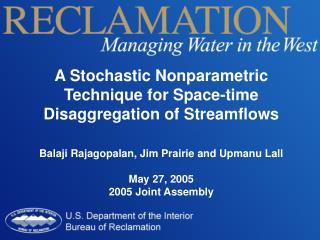 A Stochastic Nonparametric Technique for Space-time Disaggregation of Streamflows