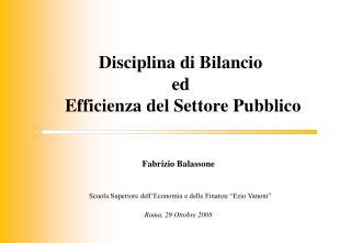 Disciplina di Bilancio ed  Efficienza del Settore Pubblico