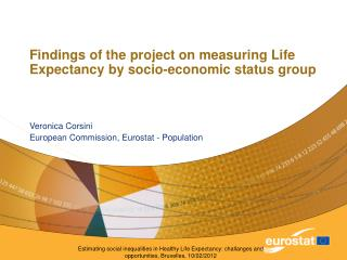 Findings of the project on measuring Life Expectancy by socio-economic status group