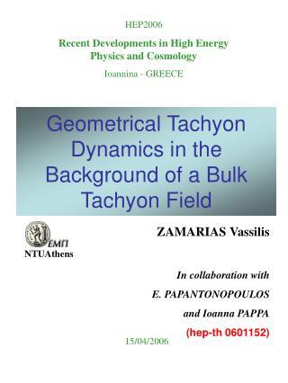 Geometrical Tachyon Dynamics in the Background of a Bulk Tachyon Field