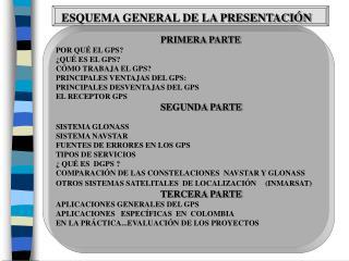 ESQUEMA GENERAL DE LA PRESENTACIÓN