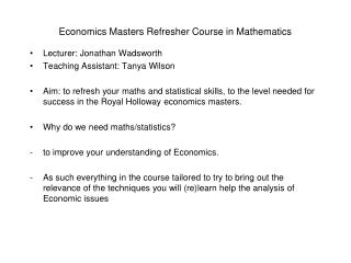 Economics Masters Refresher Course in Mathematics
