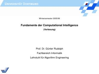 Fundamente der Computational Intelligence (Vorlesung)