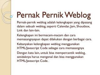 Pernak Pernik Weblog