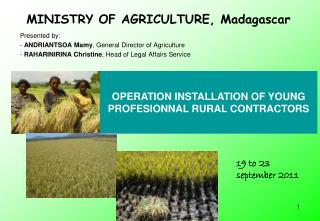 MINISTRY OF AGRICULTURE, Madagascar