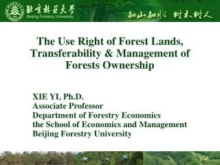 The Use Right of Forest Lands, Transferability & Management of Forests Ownership