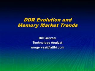 DDR Evolution and Memory Market Trends