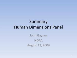 Summary Human Dimensions Panel