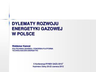DYLEMATY ROZWOJU ENERGETYKI GAZOWEJ                W POLSCE