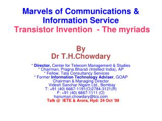 Marvels of Communications & Information Service Transistor Invention  - The myriads