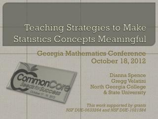 Teaching Strategies to Make Statistics Concepts Meaningful