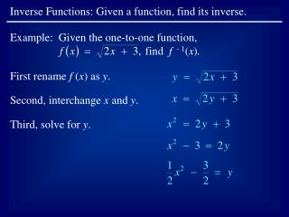 Inverse Functions: Given a function, find its inverse.