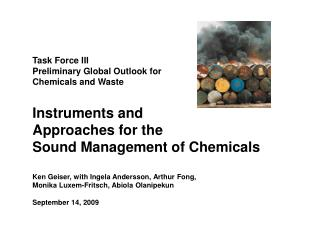 Task Force III Preliminary Global Outlook for Chemicals and Waste Instruments and