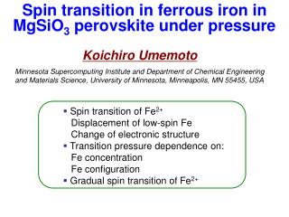 Spin transition in ferrous iron in MgSiO 3  perovskite under pressure
