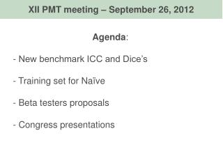 Agenda :  New benchmark ICC and Dice's  Training set for Naïve  Beta testers proposals