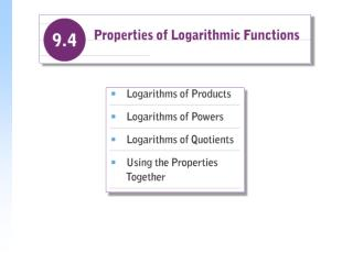 Logarithms of Products