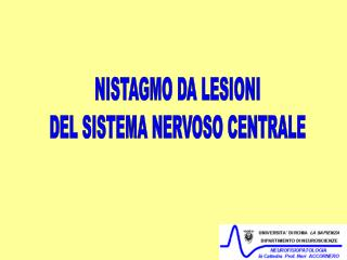 NISTAGMO DA LESIONI DEL SISTEMA NERVOSO CENTRALE