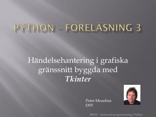 Python – FÖRELÄSNING 3