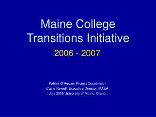 Presentation to the Maine Symposium for Higher Education