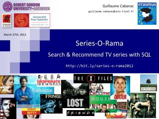 Series-O-Rama Search & Recommend TV series with SQL  bit.ly /series-o-rama2012