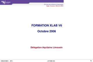 FORMATION XLAB V6 Octobre 2006