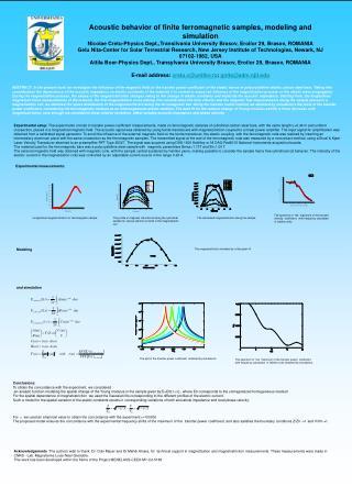 Experimental measurements: