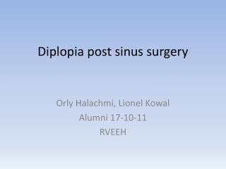 Diplopia post sinus surgery
