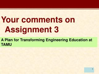 Your comments on Assignment 3