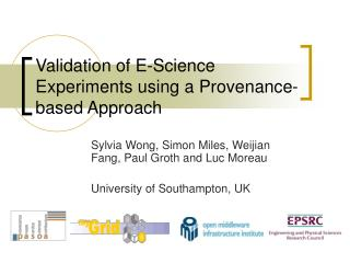 Validation of E-Science Experiments using a Provenance-based Approach