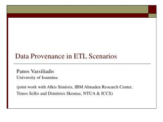Data Provenance in ETL Scenarios