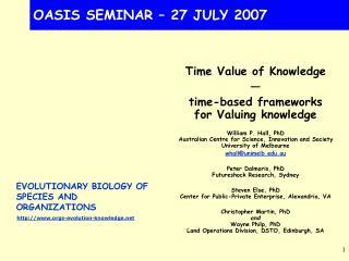 OASIS SEMINAR – 27 JULY 2007