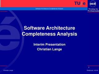 Software Architecture Completeness Analysis