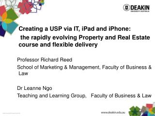 Creating a USP via IT,  iPad  and iPhone: