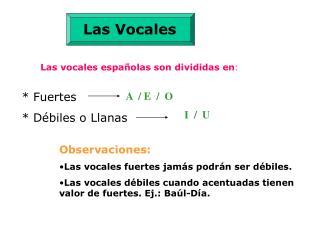 Las vocales españolas son divididas en :