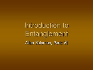 Introduction to Entanglement