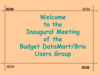 Welcome to the  Inaugural Meeting of the  Budget DataMart/Brio Users Group