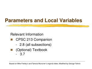 Parameters and Local Variables