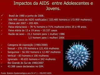 Impactos da AIDS  entre Adolescentes e Jovens.
