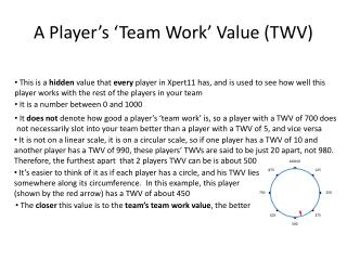 A  Player's 'Team Work' Value (TWV)