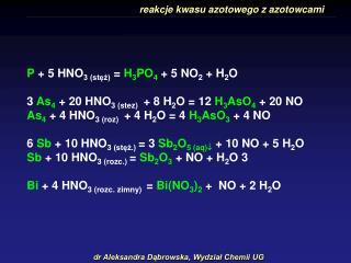 reakcje kwasu azotowego z azotowcami