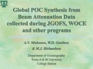 Global POC Synthesis from Beam Attenuation Data collected during JGOFS, WOCE and other programs