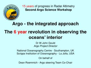 Argo - the integrated approach  The  6 year  revolution in observing the oceans' interior