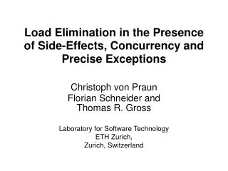 Load Elimination in the Presence of Side-Effects, Concurrency and Precise Exceptions