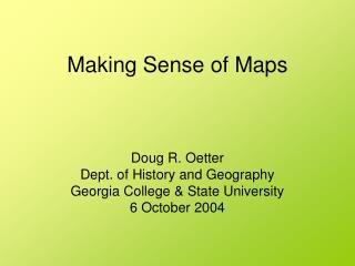Making Sense of Maps