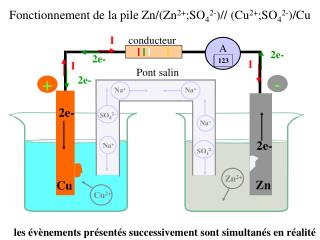 Fonctionnement de la pile Zn/(Zn 2+ ;SO 4 2- )// (Cu 2+ ;SO 4 2- )/Cu