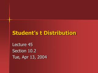 Student s t Distribution