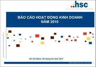 BÁO CÁO HOẠT ĐỘNG KINH DOANH NĂM 2010
