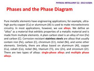 Phases and the Phase Diagram
