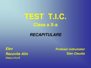 TEST  T.I.C.  Clasa a X-a