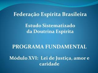 PROGRAMA FUNDAMENTAL  M dulo XVI:  Lei de Justi a, amor e caridade